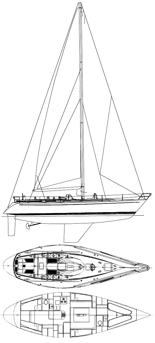 Swan 441 drawing on sailboatdata.com