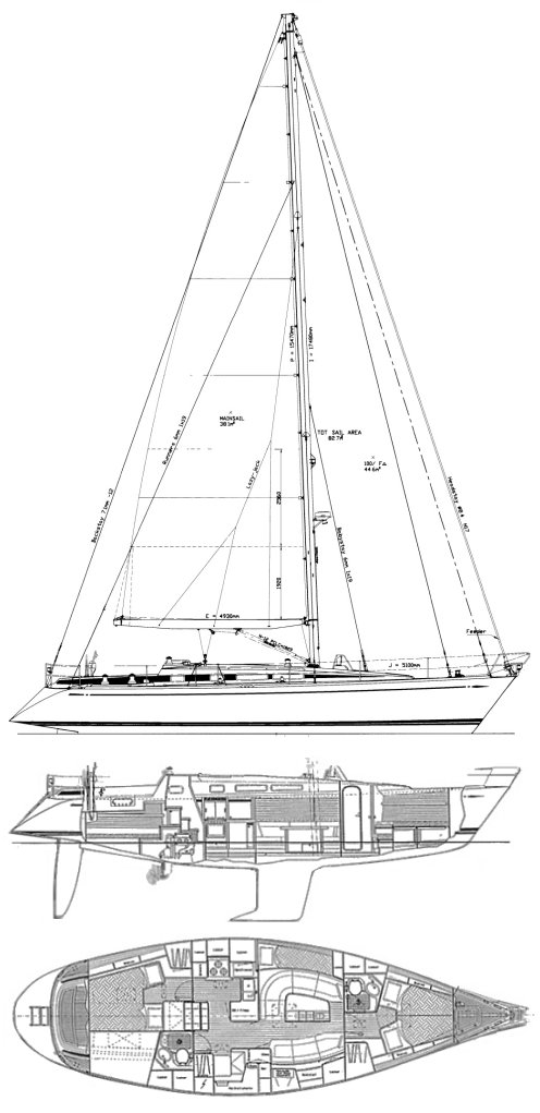 Swan 44 MKII drawing on sailboatdata.com
