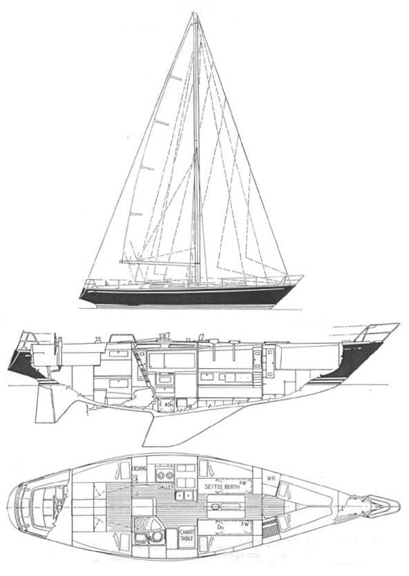 Swan 44 (S&S) drawing on sailboatdata.com
