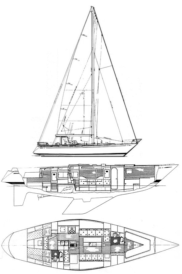Swan 47 drawing on sailboatdata.com