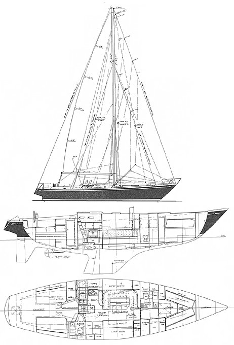 Swan 48 (S&S) drawing on sailboatdata.com