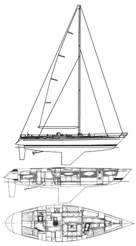 Swan 51 drawing on sailboatdata.com