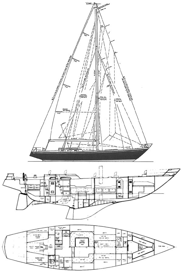 Swan 55 (S&S-1970) drawing on sailboatdata.com
