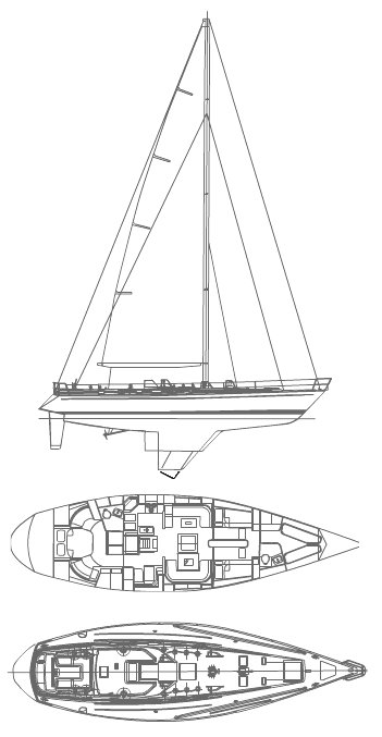 Swan 59 drawing on sailboatdata.com