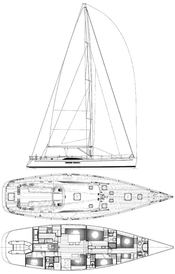 Swan 66 S drawing on sailboatdata.com
