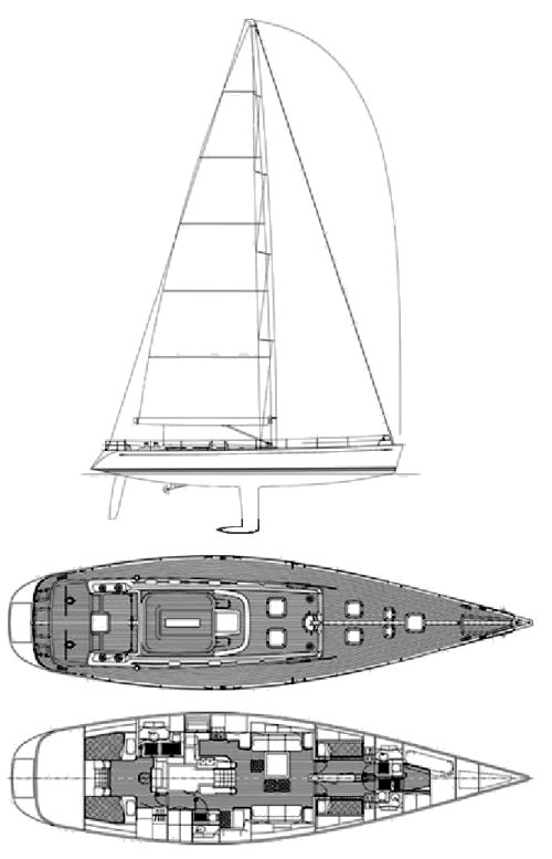 Swan 70 drawing on sailboatdata.com