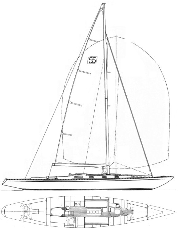 Swede 55 drawing on sailboatdata.com