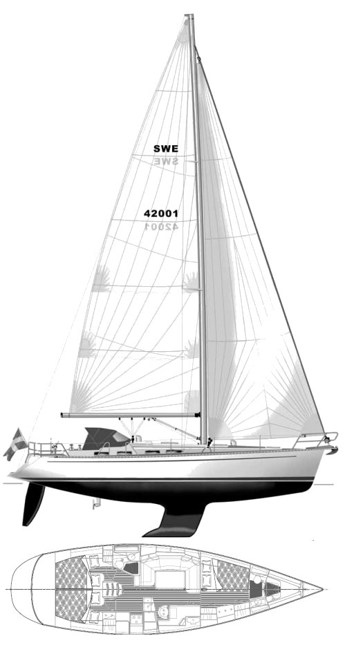 Sweden Yachts 42 drawing on sailboatdata.com