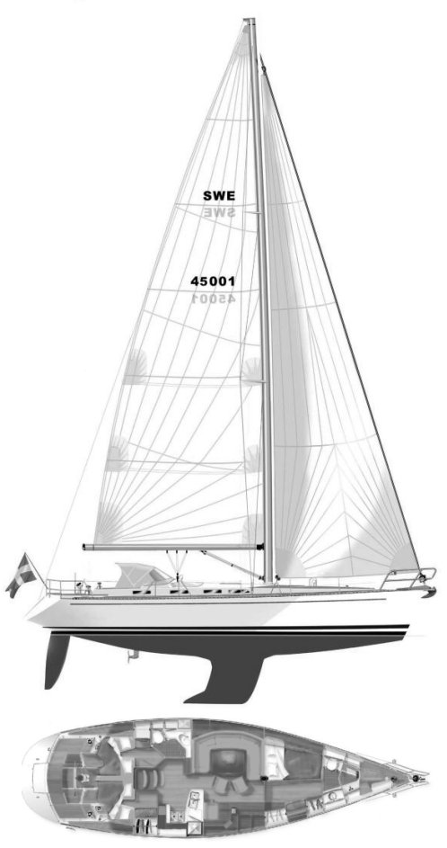 SWEDEN YACHTS 45 drawing