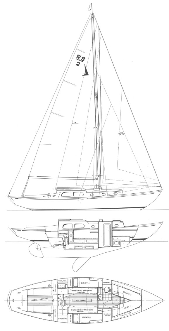 Swiftsure 33 drawing on sailboatdata.com