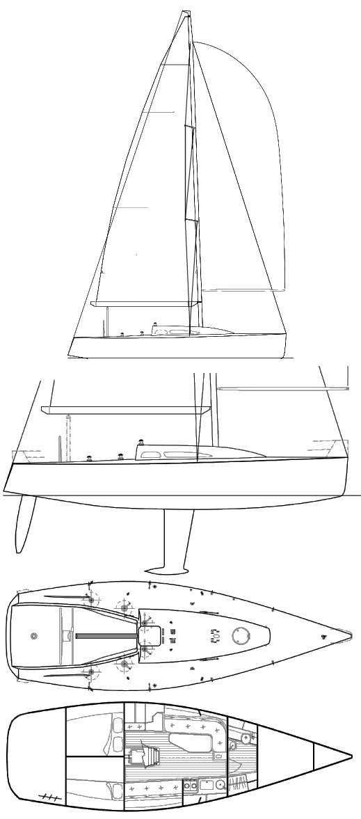 Sydney 38 drawing on sailboatdata.com