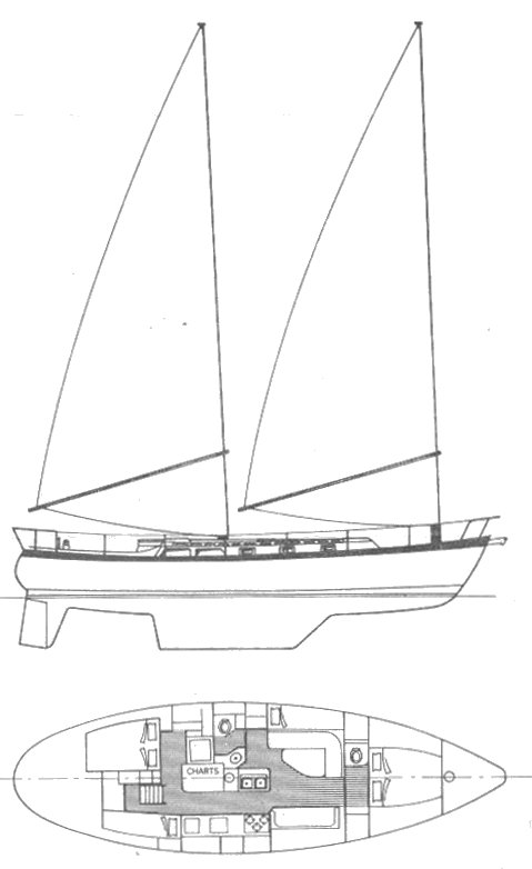 Tanton 43 drawing on sailboatdata.com