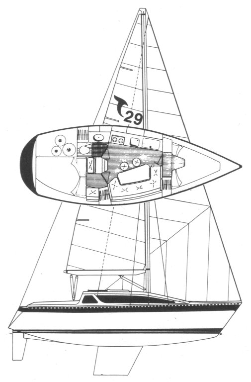 Tanzer 29 drawing on sailboatdata.com