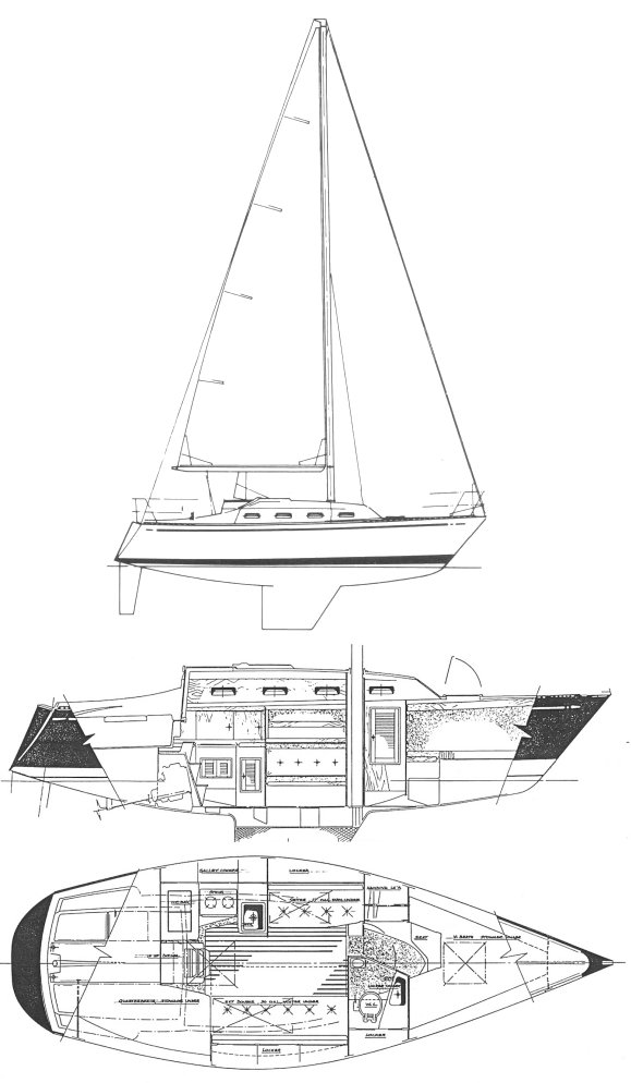 Tartan 28 drawing on sailboatdata.com