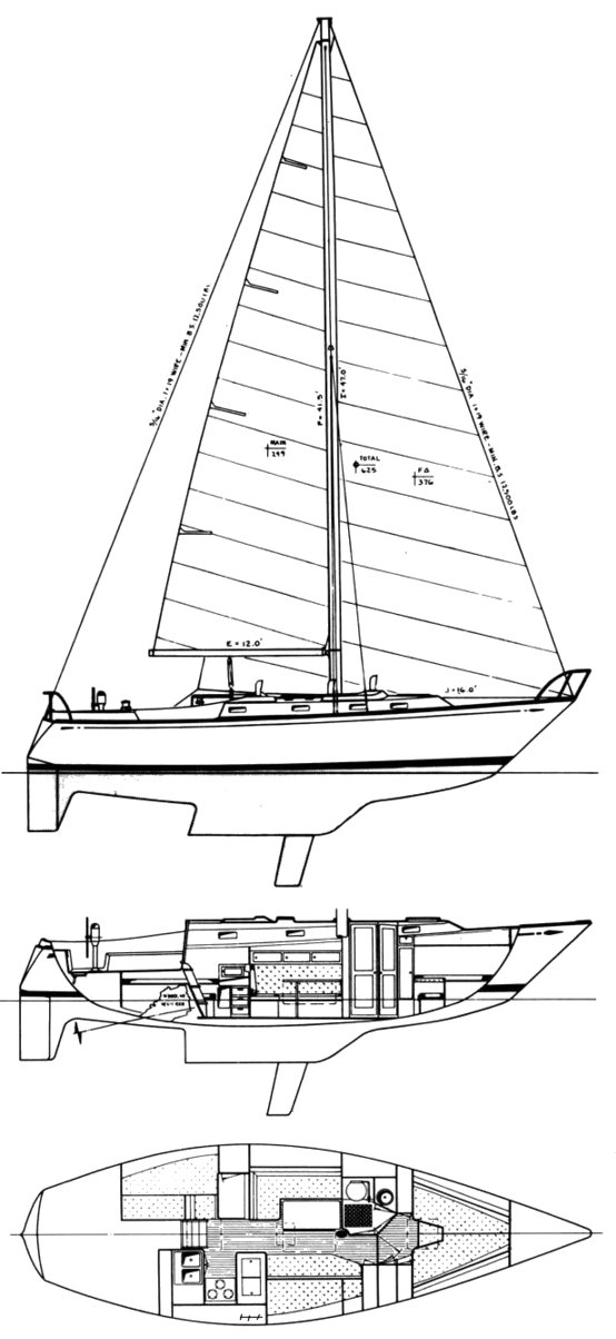 Tartan 37 (S&S) drawing on sailboatdata.com