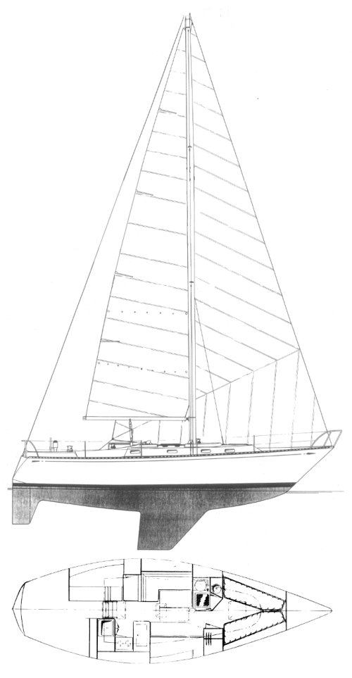 Tartan 38 drawing on sailboatdata.com
