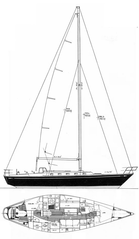 Tartan 42 drawing on sailboatdata.com