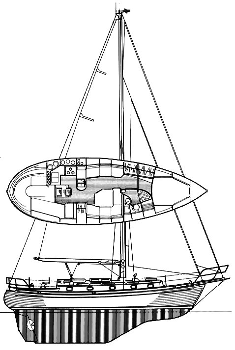 Tashiba 36 drawing on sailboatdata.com