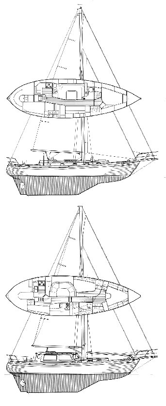 Tashiba 40 drawing on sailboatdata.com