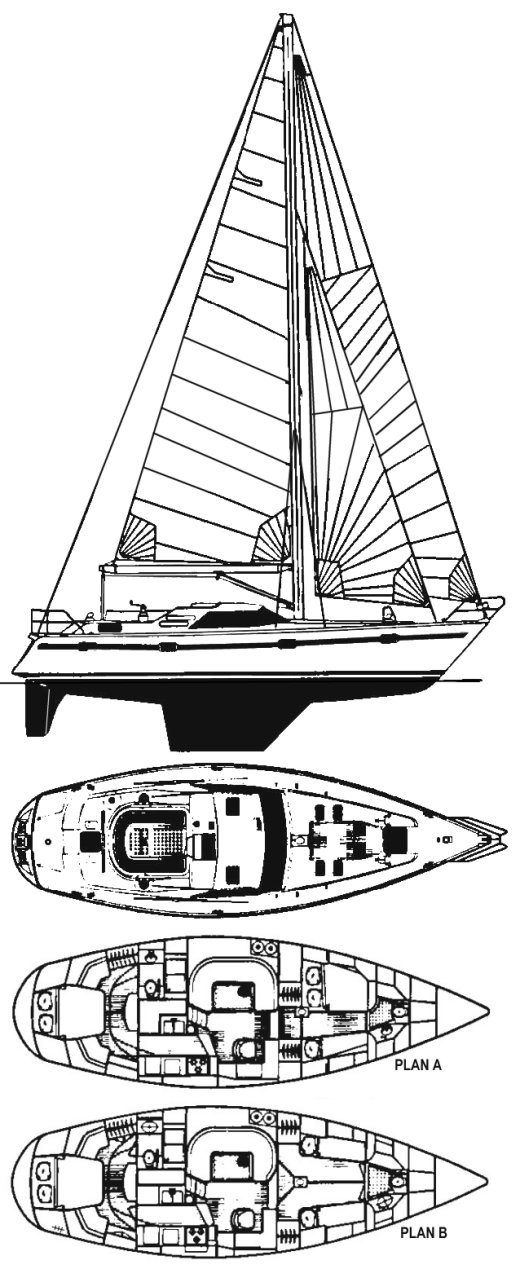 Taswell 43 RS drawing on sailboatdata.com