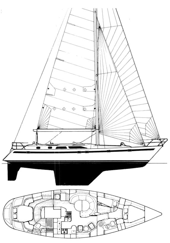 Taswell 49 drawing on sailboatdata.com