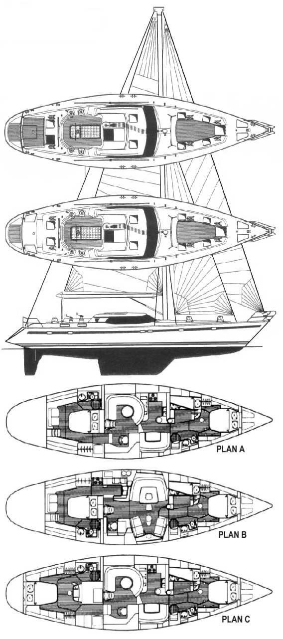 Taswell 58 RS drawing on sailboatdata.com