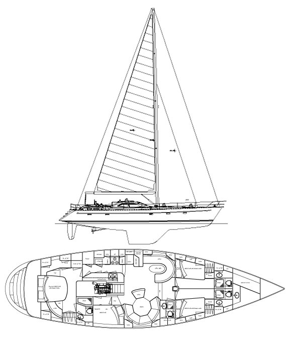 Tayana 64 DS drawing on sailboatdata.com