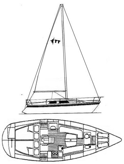 Tempest 31 (Westerly) drawing on sailboatdata.com