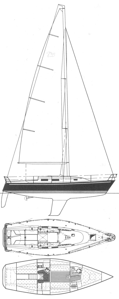 Thomas 35 drawing on sailboatdata.com