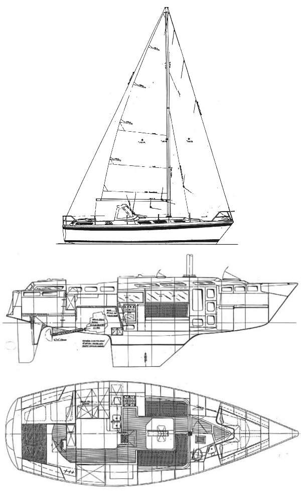Tosca 36 drawing on sailboatdata.com