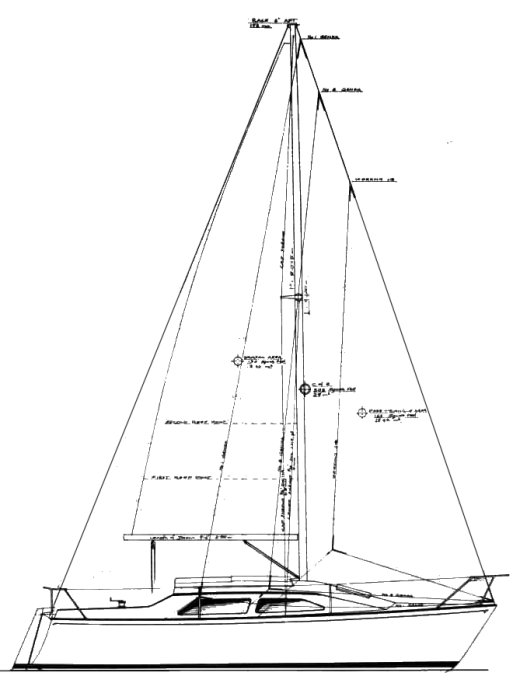 Tracker 7.7 drawing on sailboatdata.com