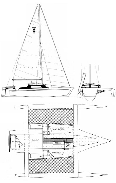 Trailertri 680 drawing on sailboatdata.com
