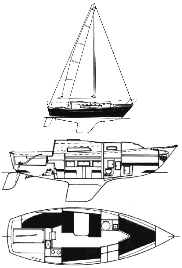 Trapper 500 drawing on sailboatdata.com