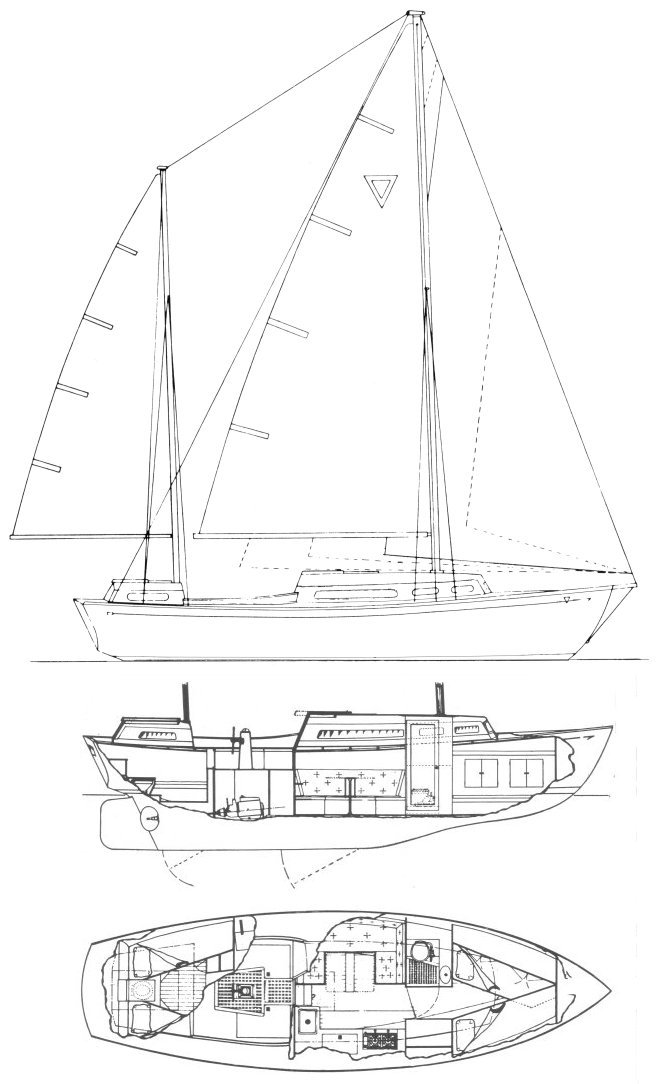 Triangle 32 drawing on sailboatdata.com