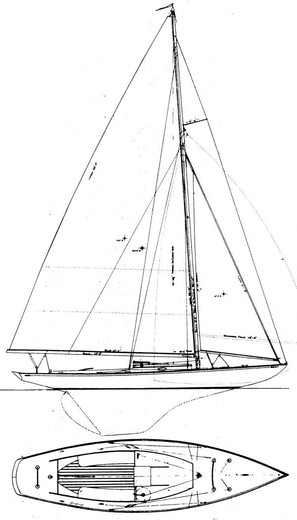 Triangle One-Design drawing on sailboatdata.com