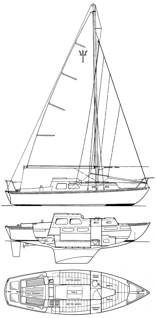 Trident 24 drawing on sailboatdata.com