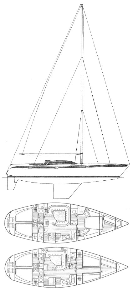 Trinidad 48 drawing on sailboatdata.com