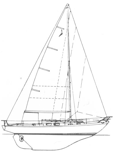 Trintella 29 drawing on sailboatdata.com