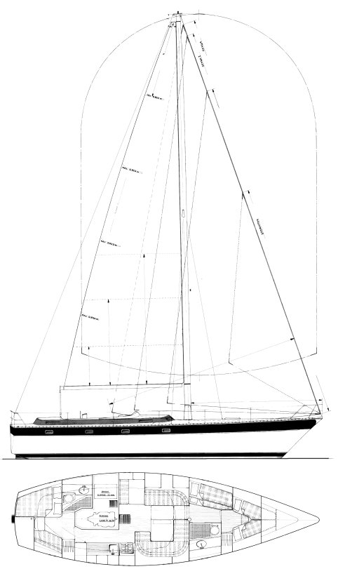 Trintella 44 drawing on sailboatdata.com