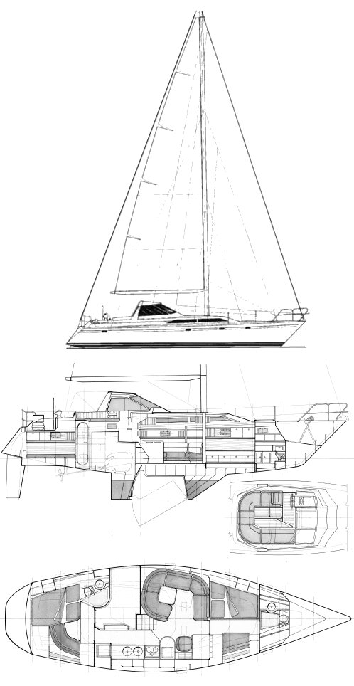 Trintella 44a drawing on sailboatdata.com