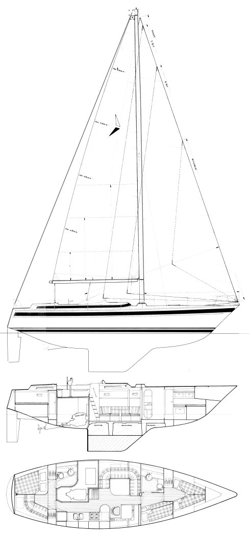 Trintella 45 drawing on sailboatdata.com