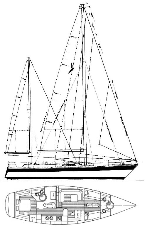 Trintella 53 drawing on sailboatdata.com