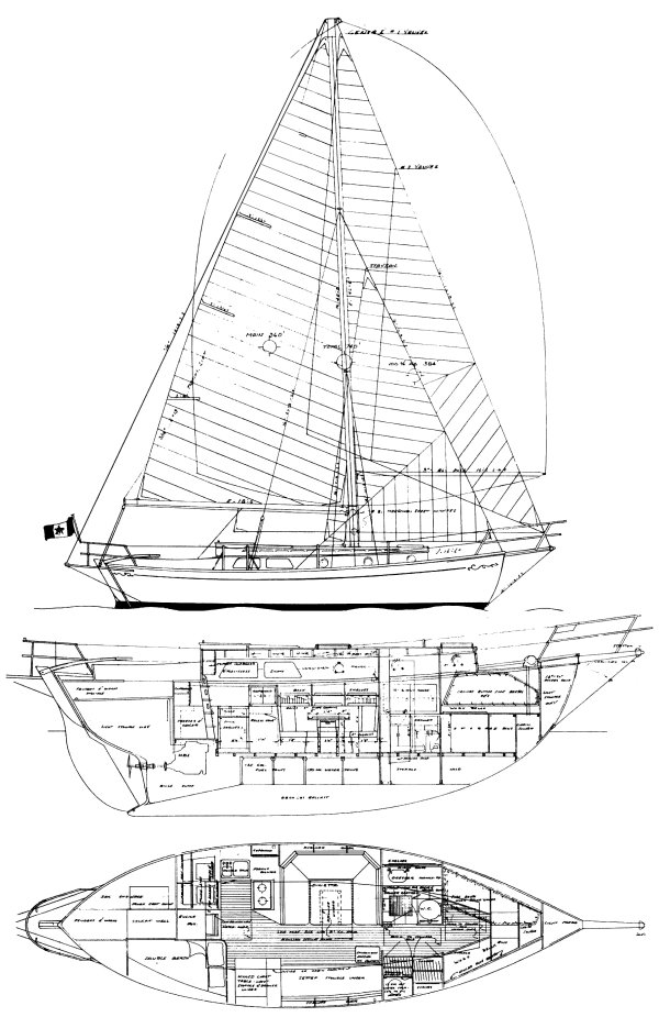 True North 34 drawing on sailboatdata.com