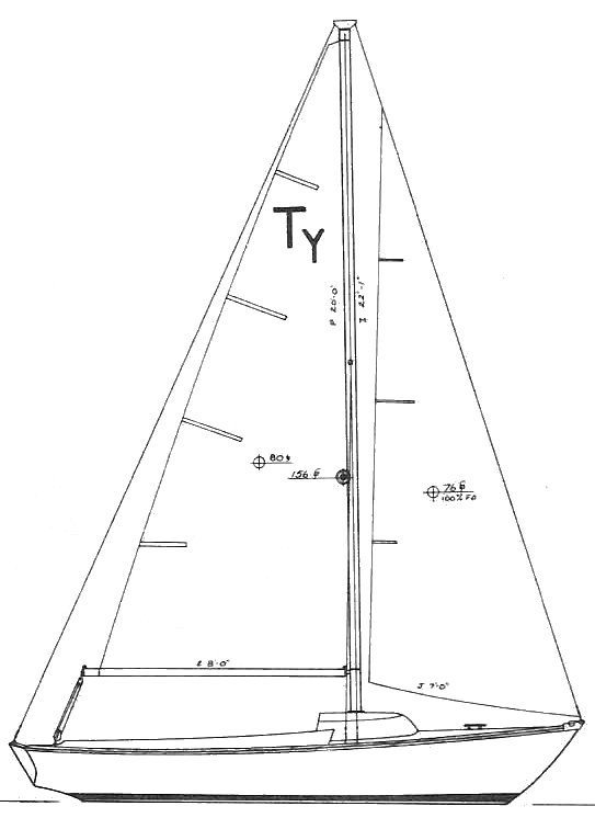 Typhoon 18 Daysailor (Cape Dory) drawing on sailboatdata.com