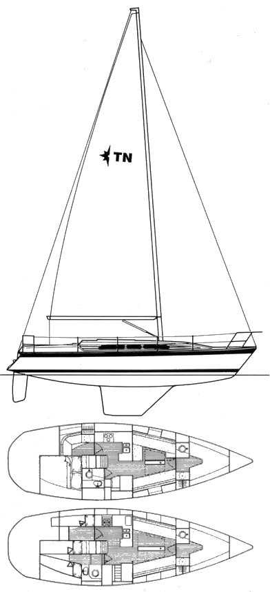 TYPHOON 37 (WESTERLY) drawing