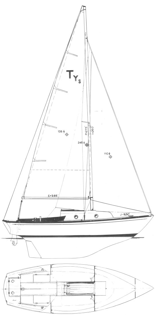 Typhoon Senior drawing on sailboatdata.com