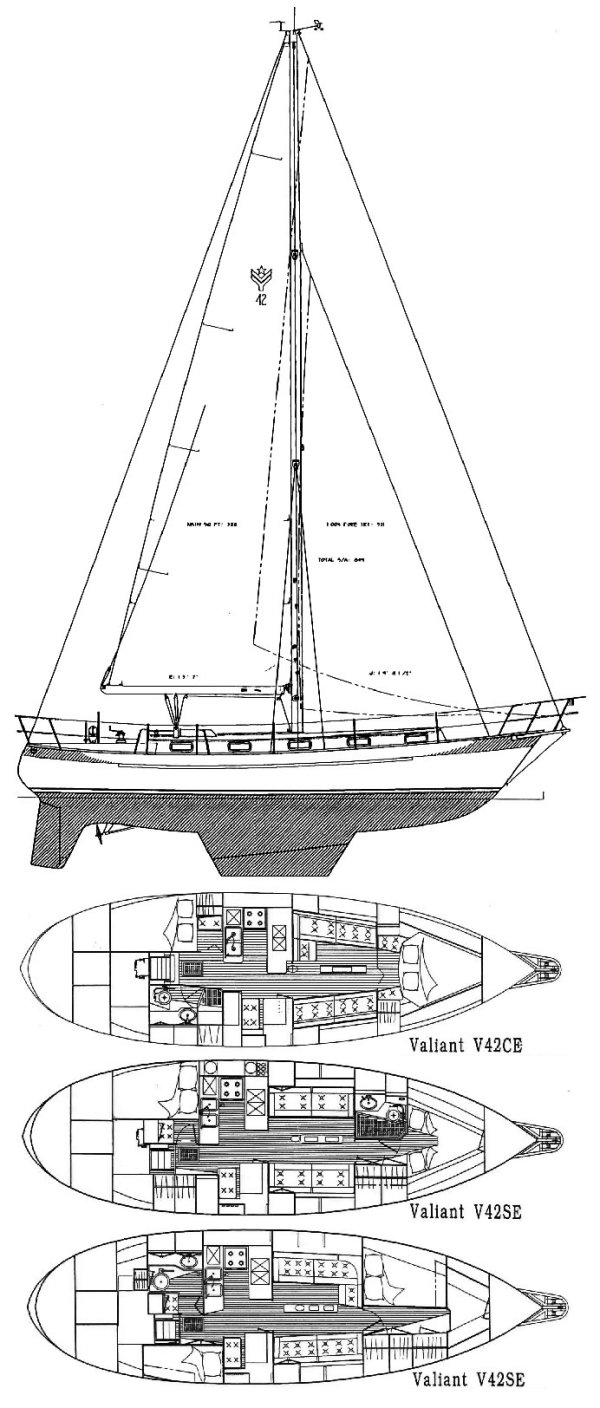 Valiant 42 drawing on sailboatdata.com