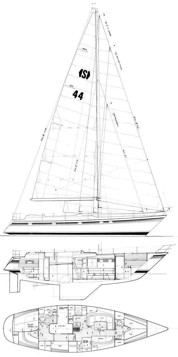 Van de Stadt 44 drawing on sailboatdata.com
