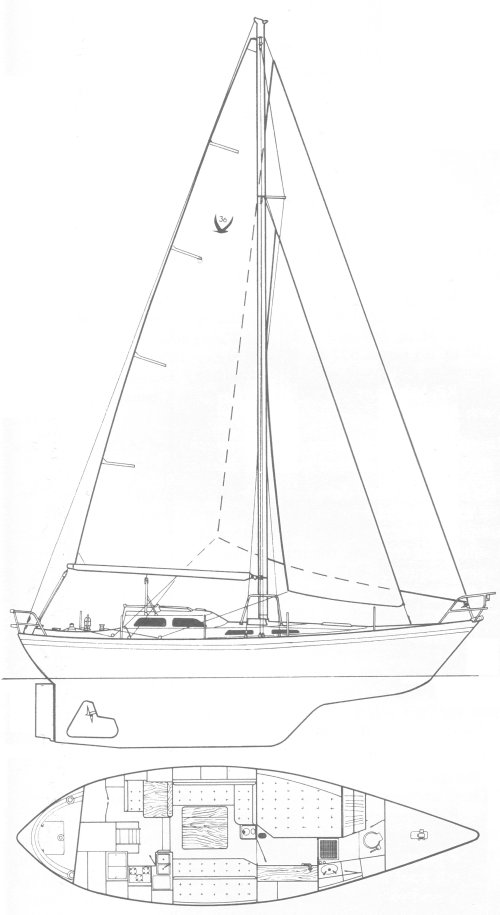 Vancouver 36 (Harris) drawing on sailboatdata.com