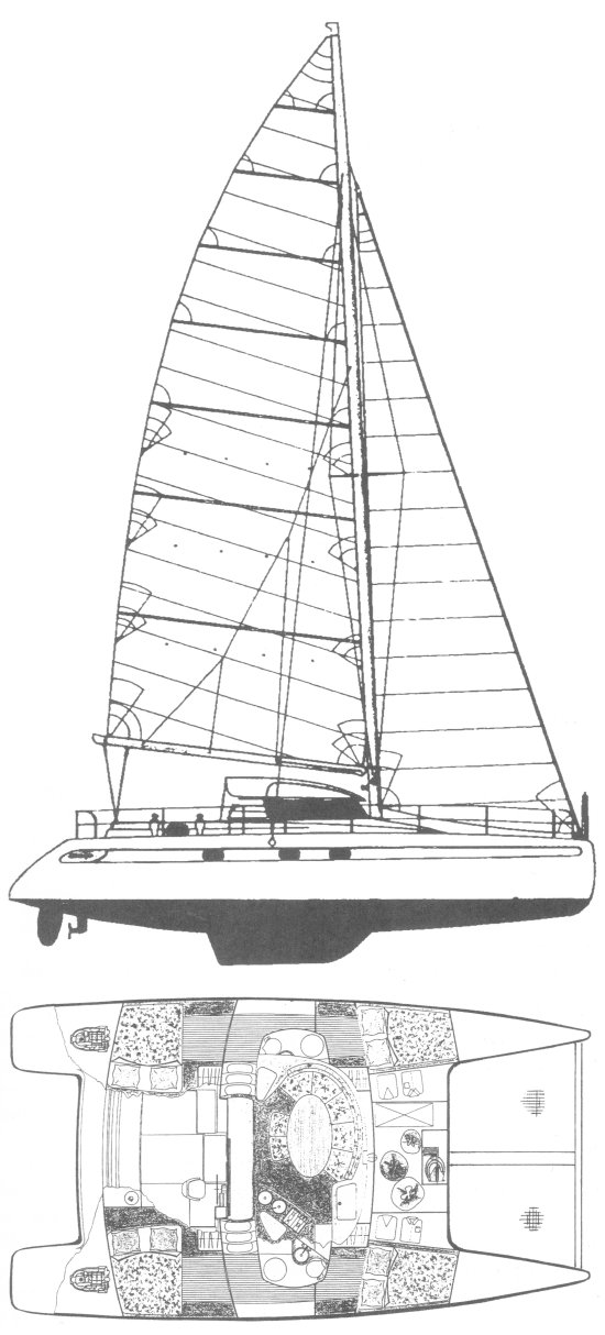 Venezia 42 drawing on sailboatdata.com